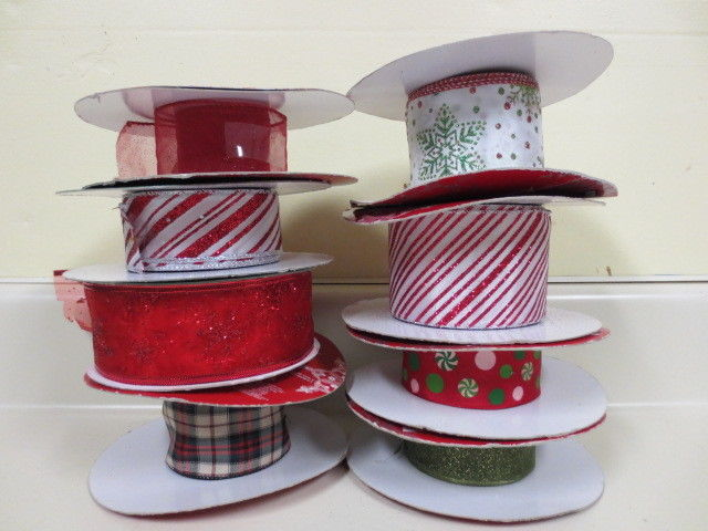 Lot of 8 Partial Rolls Christmas Ribbon FREE SHIPPING