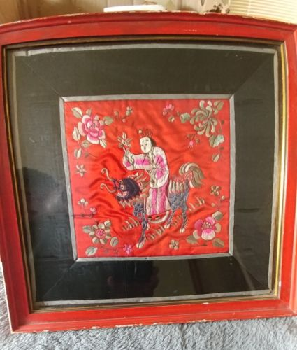ANTIQUE CHINESE SILK EMBROIDERY PANEL FOO DOG FRAMED