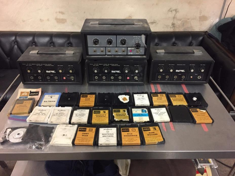 Univox Tape Delay Echo Lot w/ Apollon and Playtapes Cartridges EC-80 For Repair