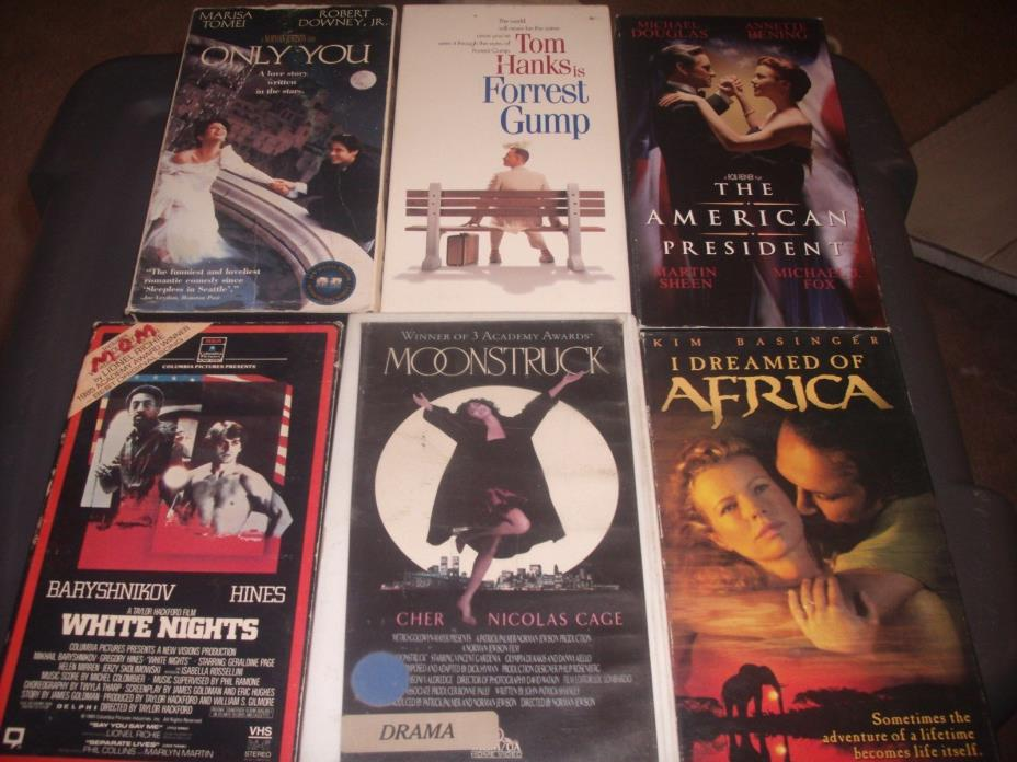 LOT OF SIX DRAMA  VHS MOVIES FORREST GUMP,WHITE NIGHTS,ONLY YOU,AMERICAN PRESIDE