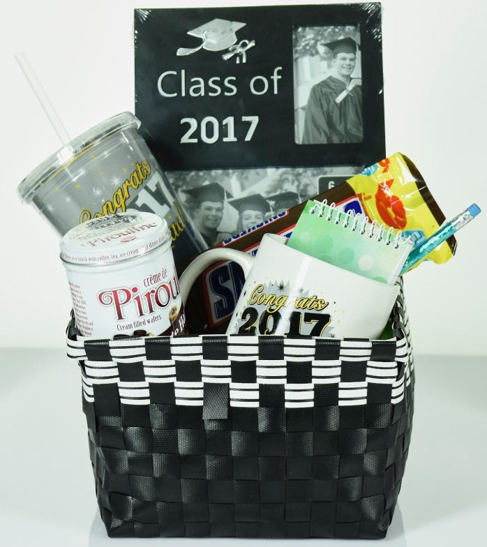 Graduation Gift Basket with Keepsake Frame, Mug, & Insulated Cup and Snickers
