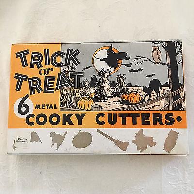 Vintage Trick or Treat Halloween 6 Metal Cookie Cutters Original Box UNUSED