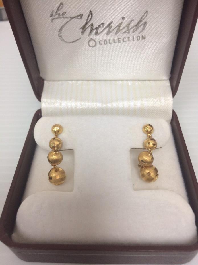 20K Yellow Gold Disco Ball Dangling Stud Earrings