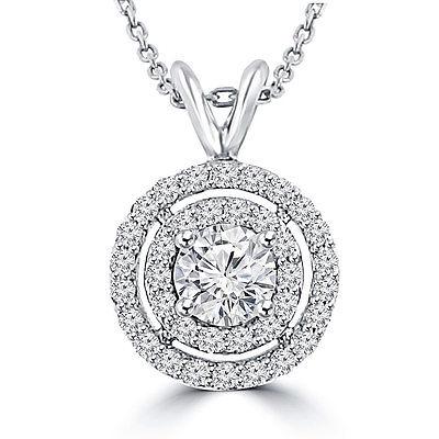 1.21 Ct Ladies Round Cut Diamond Pendant / Necklace
