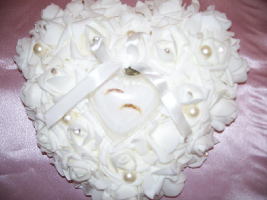 Ivory  Heart Shape Rose Flowers Ring Bearer Pillow   11