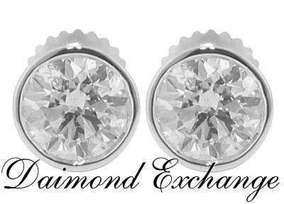 2.02 CT Round Cut Diamond Stud's Earrings Bezel Setting