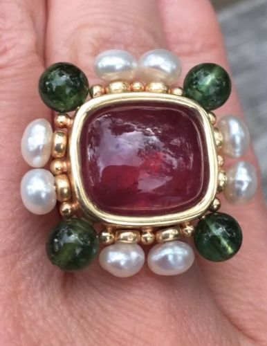 Designer 14k Yellow Gold Pink Green Tourmaline and pearl ring, size 6.5, 14.5g