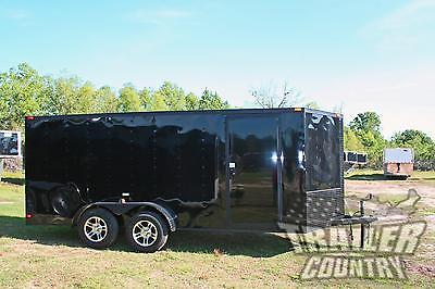 NEW 2018 7x16 BLACKOUT Black Out V Nosed Enclosed Cargo Motorcycle Trailer Ramp