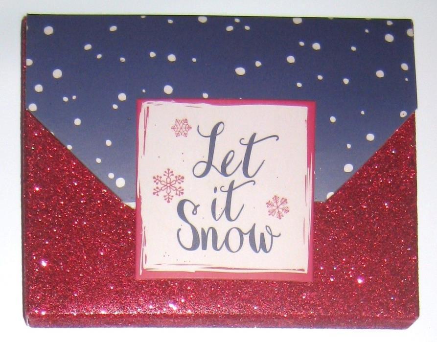 LET IT SNOW RRD GLITTER GIFT CARD/MONEY HOLDER/GIFT BOX