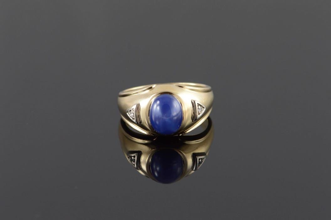 10K 1.50 CTW Star Sapphire* Diamond Inset Men's Ring Size 10.25 Yellow Gold