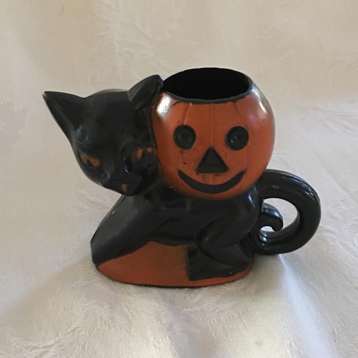 Vintage Rosbro Halloween Black Cat Pumpkin Plastic Candy Holder