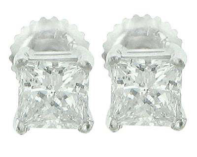 2.04 Ct Princess Cut Diamond Stud Earrings White Gold with Screw Back In 18 Kt