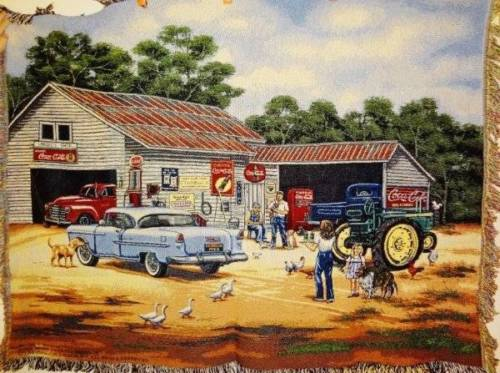 NEW Coca Cola John Deere Gas Station 1955 Chevrolet Renfroe Throw Afghan Blanket