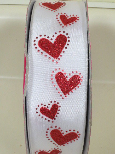 Super Cute Kirkland Glitter Hearts Ribbon Wire Edge 1.5