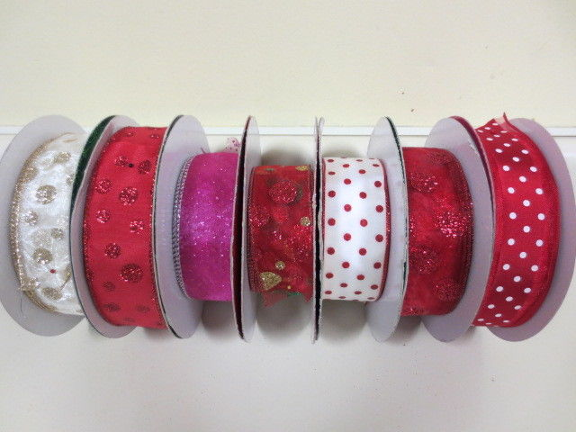 LOT 225+ Yds Super Cute Kirkland Christmas Ribbon Wire Edge Polka Dot 1.5