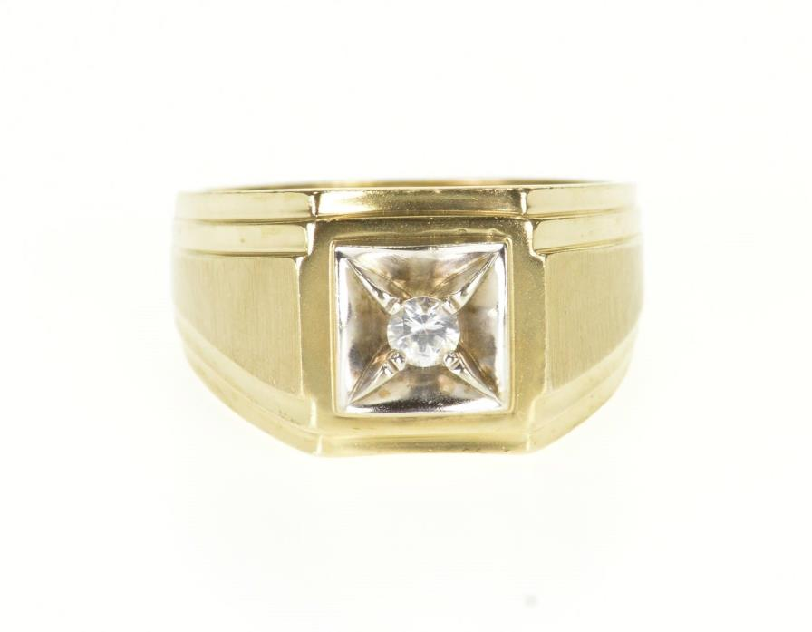10K 0.18 Ct Round Cut Squared Grooved Men's Ring Size 10.5 Yellow Gold *81