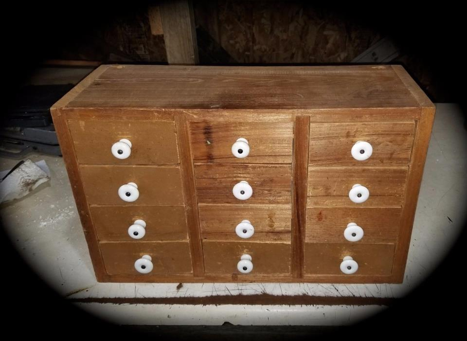 Vintage wood Wall /Counter  Box Rack Wood 12 Drawer Cabinet