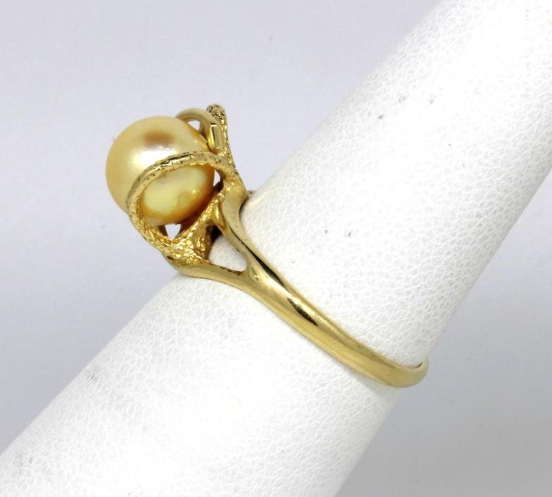 14k Yellow Gold Golden Pearl Swirl Ring