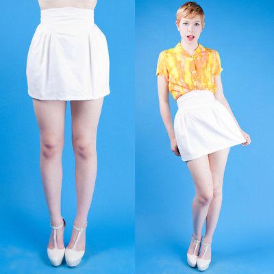 BEAUTIFUL Vtg 80s White Cotton Piqué High Waist MINI SKIRT XS/S