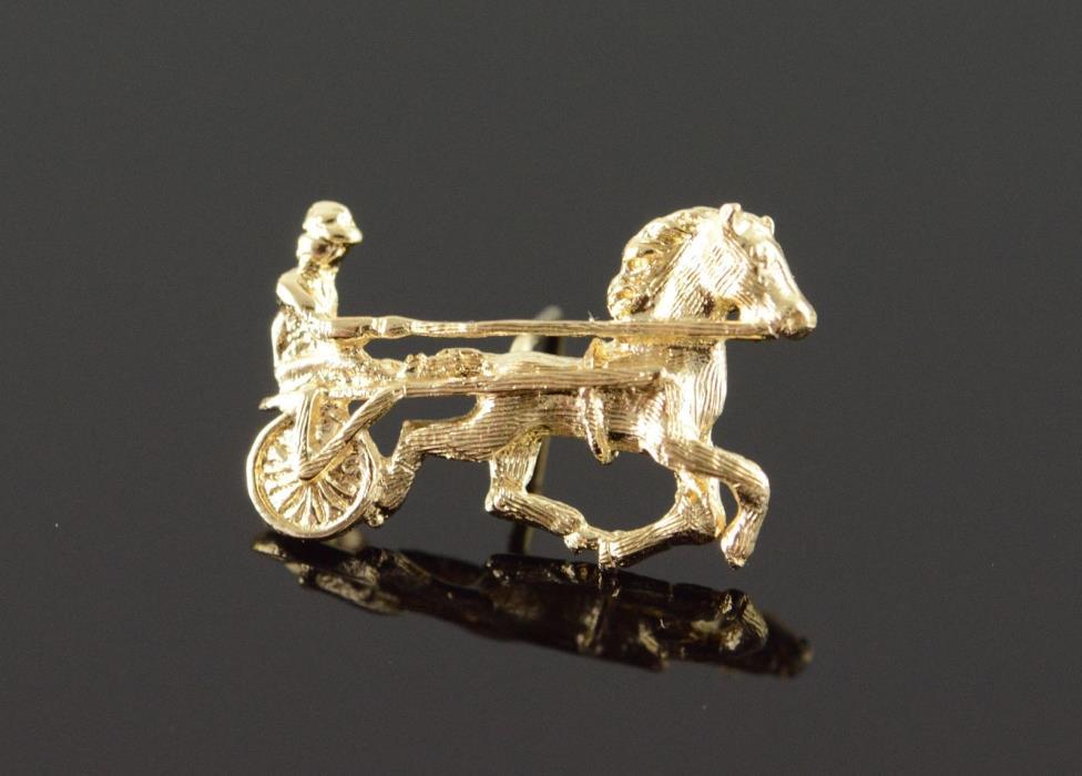 14K Horse & Cart Jockey Racing Riding Tie Tack Tie Tack Yellow Gold