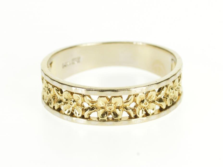 14K Floral Pattern Motif Flower Men's Wedding Band Ring Size 10 Yellow Gold *20