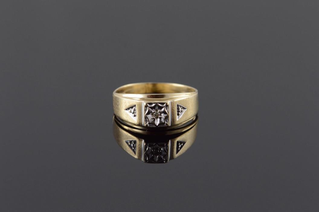 10K 3 Stone Genuine Diamond Men's Band Ring Size 10.75 Yellow Gold