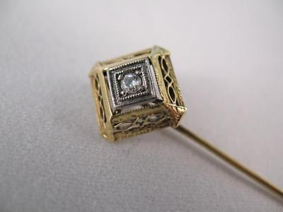 Vintage 14k Diamond Stick Pin with Square Filigree Head