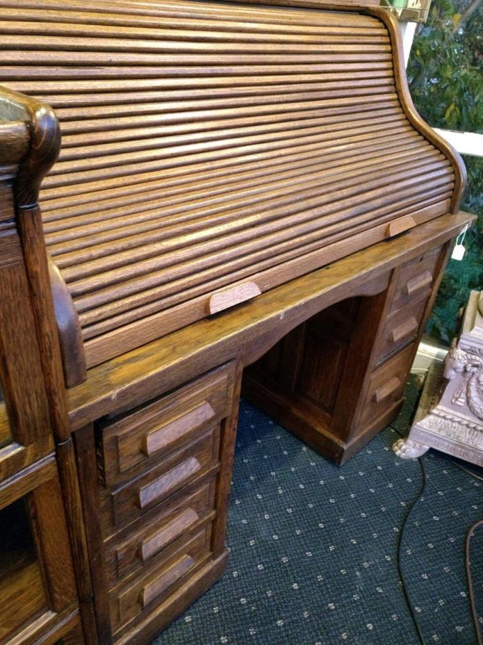 Solid Antique S - Roll Top Desk, Oak, Raised Panels,original finish, c.1890-1910