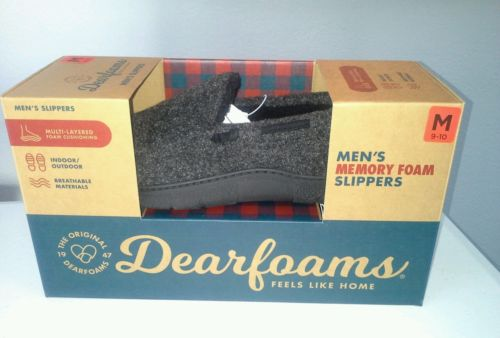 Dearfoams men's M 9 -10 slippers memory foam indoor outdoor black moccasin