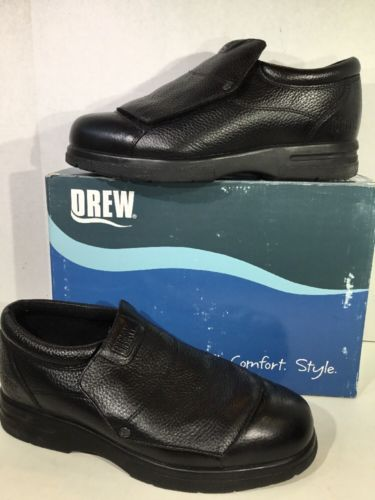 Drew Victor Men's Size 10.5 W Black Leather Therapeutic Slip On Shoes ZK-2342