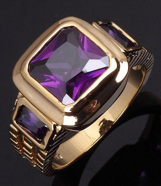 Men's purple Amethyst Jewelry Cz Yellow Gold Filled Ring for man size 10