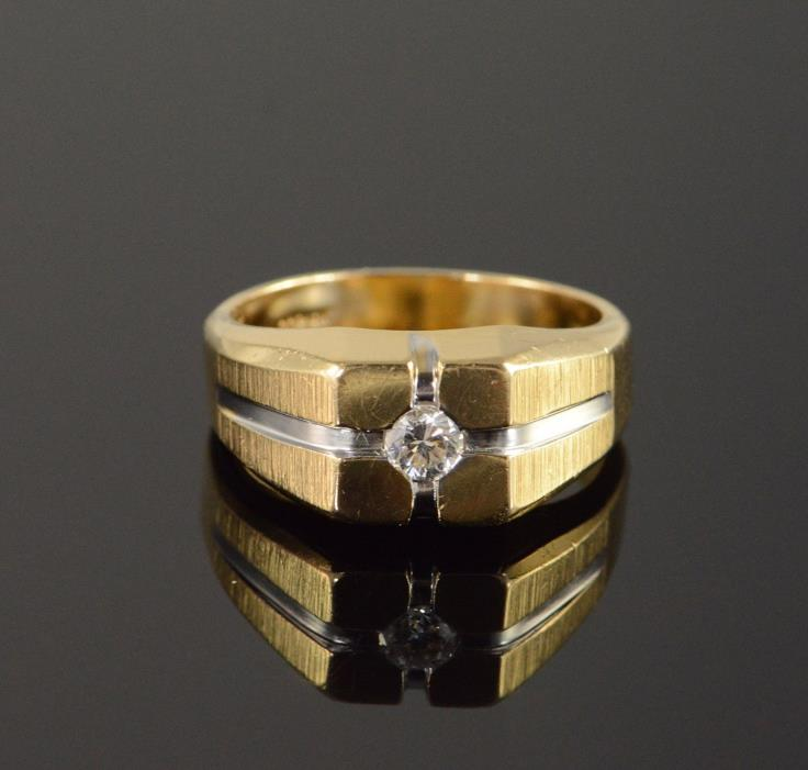 14K 0.20 CT Diamond Inset Men's Ring Size 9.25 Yellow Gold