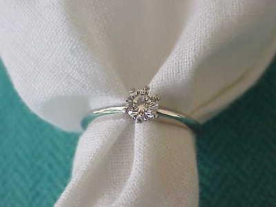 TIFFANY & CO PLATINUM .38 CT DIAMOND ENGAGEMENT RING  VS2 F DIAMOND SZ 6
