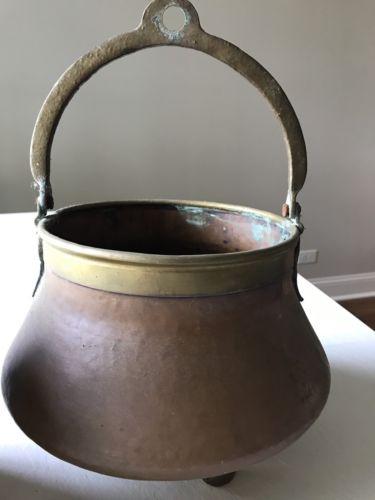 Antique Large Copper Pot Cauldron Primative Cookware