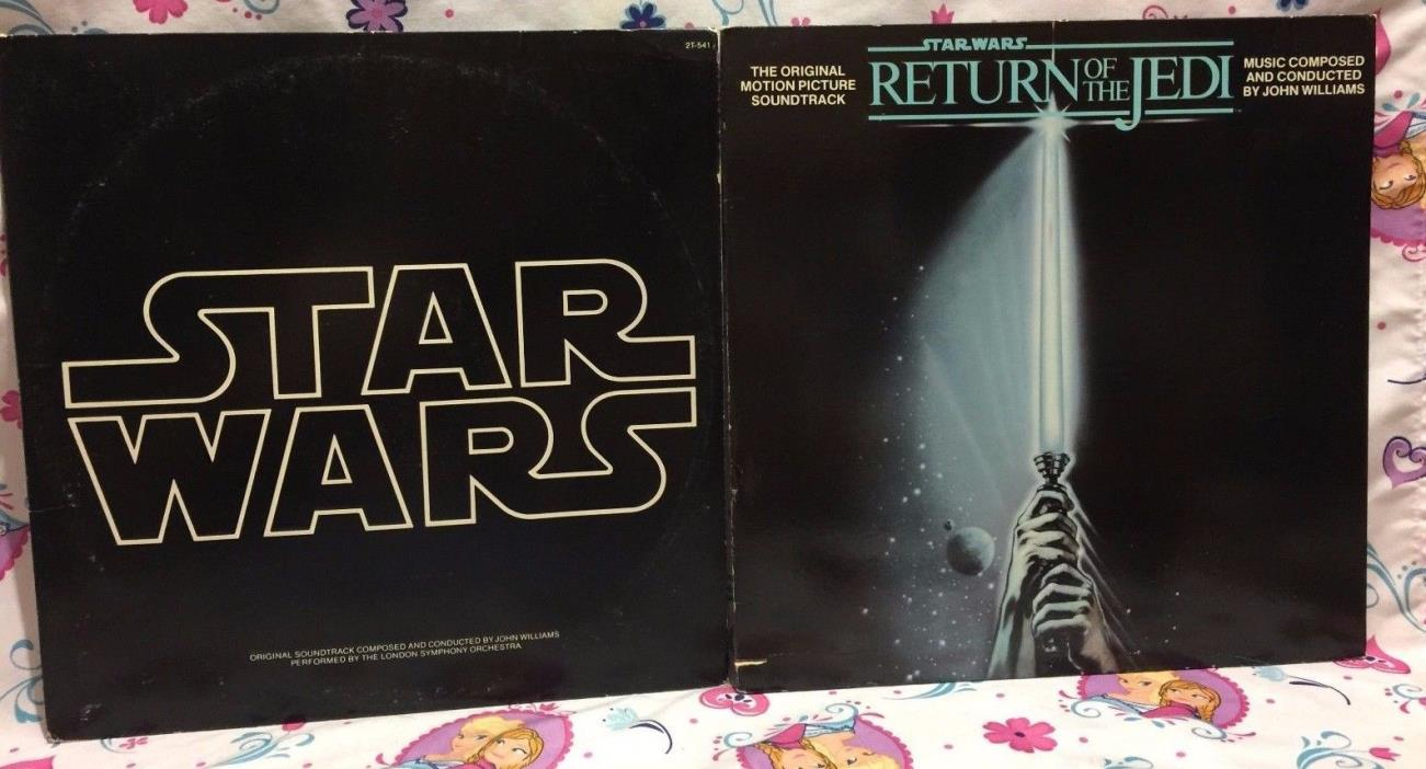 Star Wars & Return Of The Jedi Soundtrack LP Vinyl Lot w/ Poster & T-Shirt Sheet