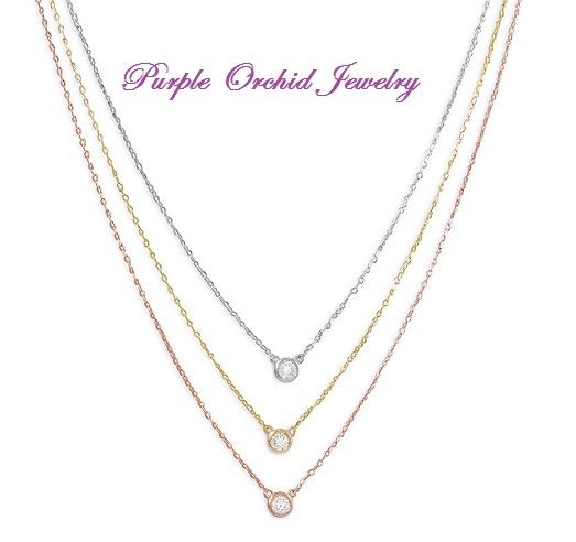 Three Stone Round Bezel set Diamond Pendant Necklace White, Rose and Yellow Gold