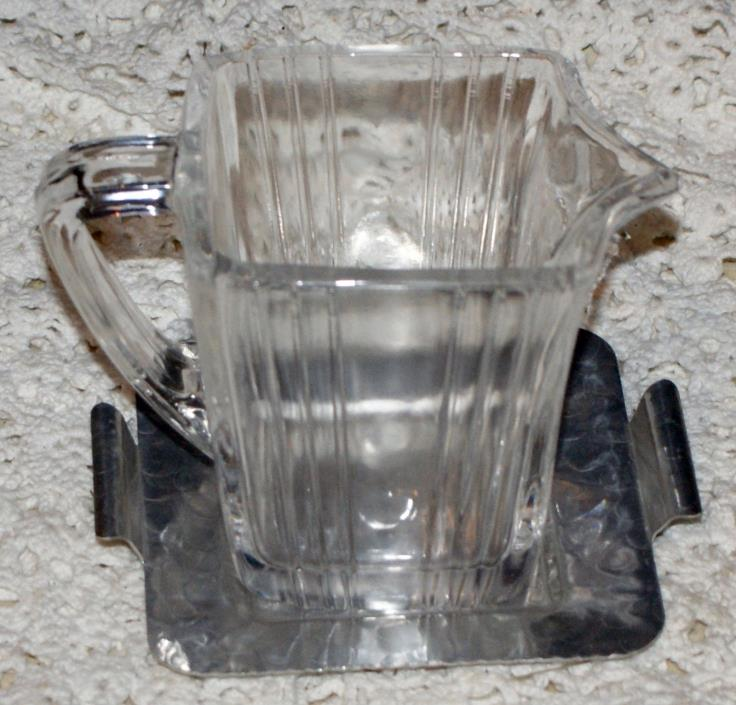 Vintage Clear Glass Cream Pitcher With Hammered Aluminum Tray