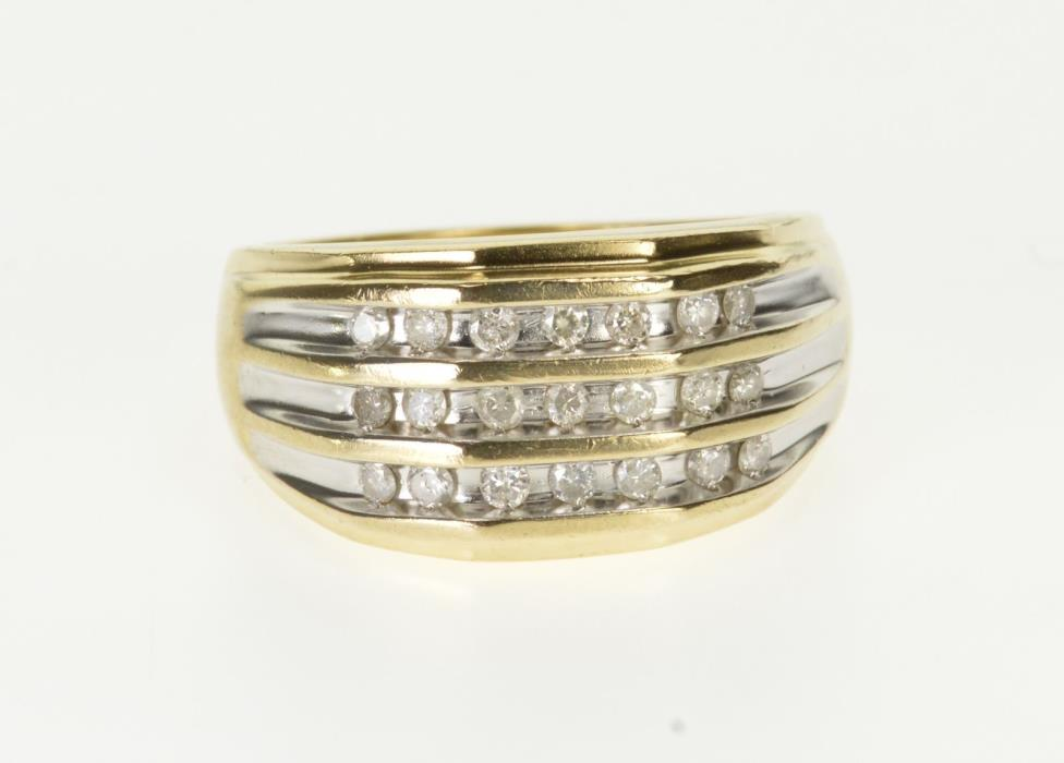 10K 0.63 Ctw Diamond Channel Inset Men's Band Ring Size 10.75 Yellow Gold *49