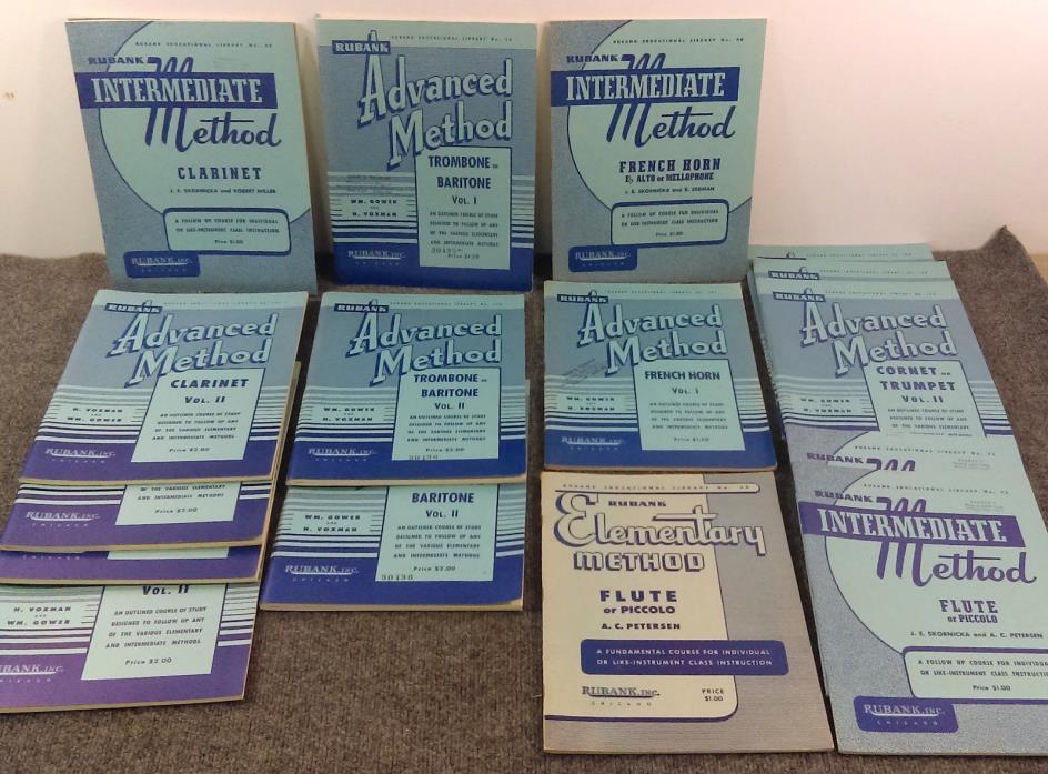 Lot/17 Rubank Band Instrument Music Book Elementary Intermediate Advanced Brass