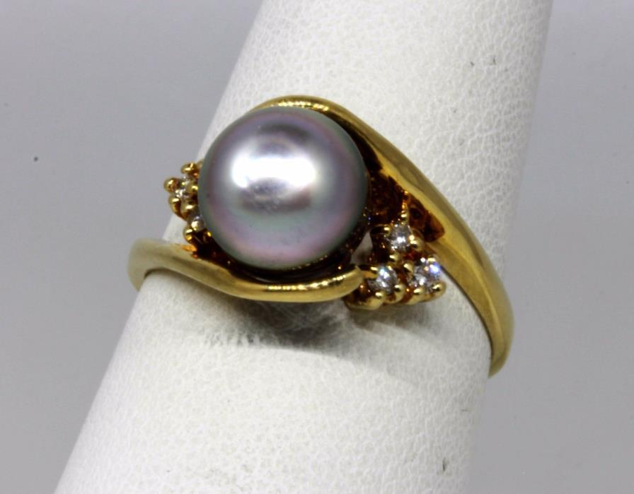 14k Yellow Gold Gray Pearl Diamond Ring