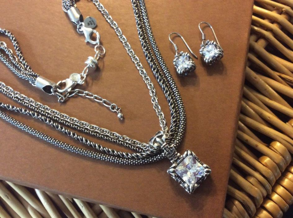 Silpada Sterling Silver Necklace & UPTOWN CZ Pendant & Earrings w/ Magnetic Ext.