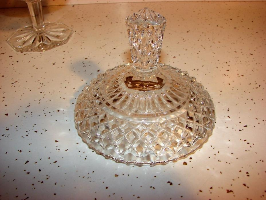 VINTAGE LEAD  CRYSTAL FOOTED  ETCHED COVERED CANDY DISH