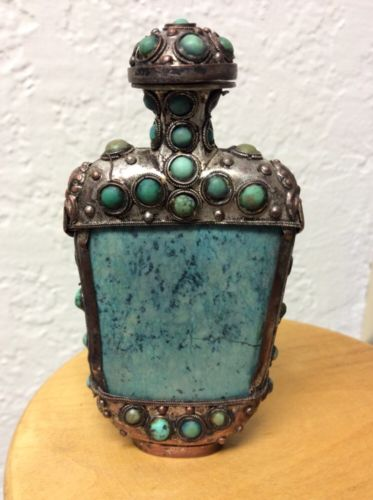 19th Century  RARE Antique Chinese Turquoise Agate Snuff Bottle