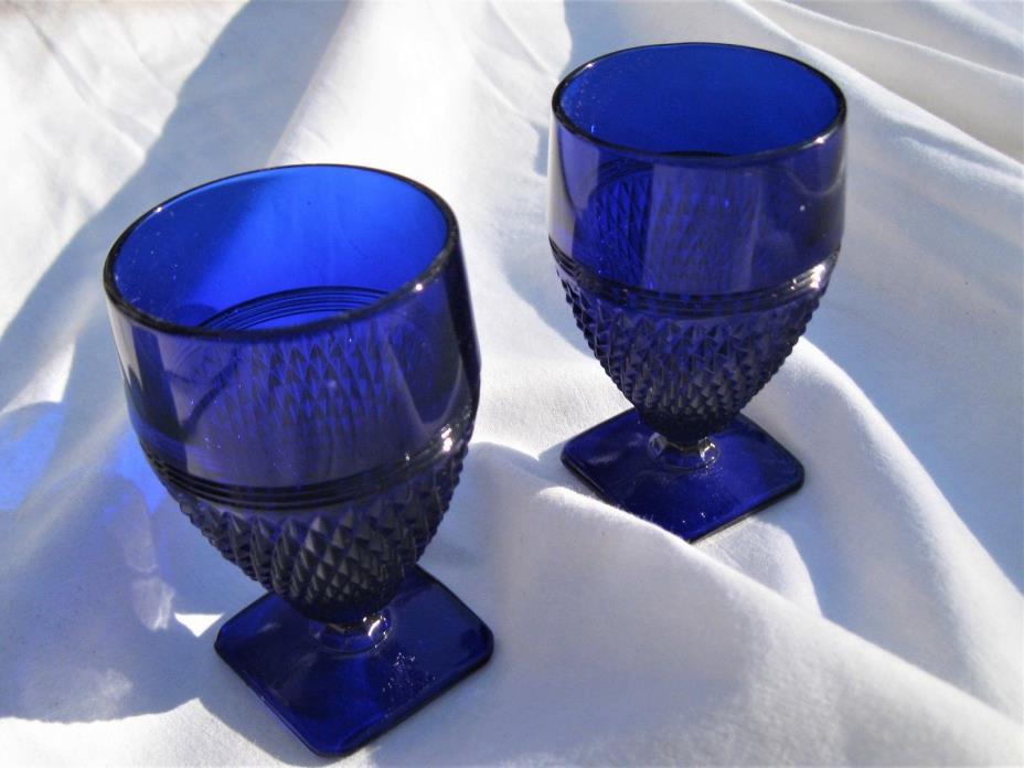 2 Vintage cobalt blue EGG CUP or TOOTHPICK HOLDER or SHOT GLASS ~ 3.25