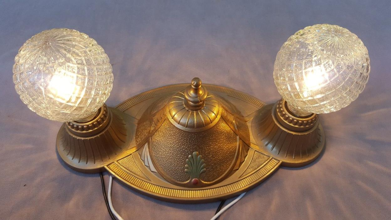 Art Deco Era, 2-Bulb Ceiling Light,  Signed H.P. Inc, Refinished & Rewired