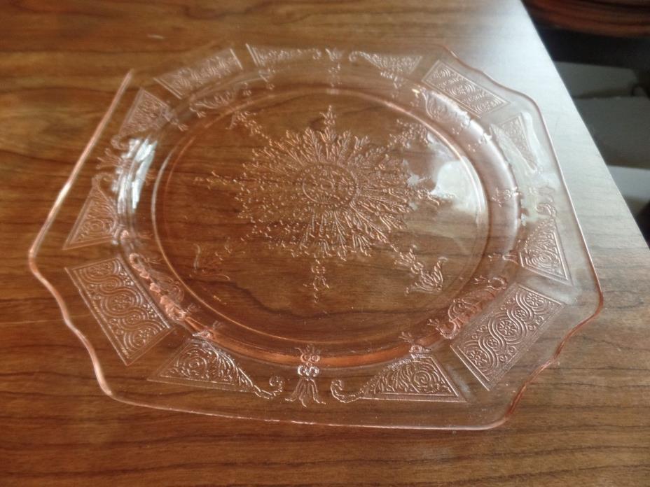 Vintage Pink Depression Glass Plate #2110