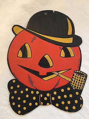 VINTAGE Luhr Halloween Pumpkin Head W/ Pipe Die Cut Decoration