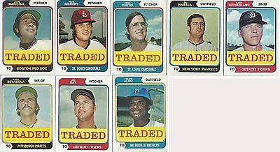 1974 Topps Baseball Traded 44 Card Set Incl Checklist Pinella Alou Agee