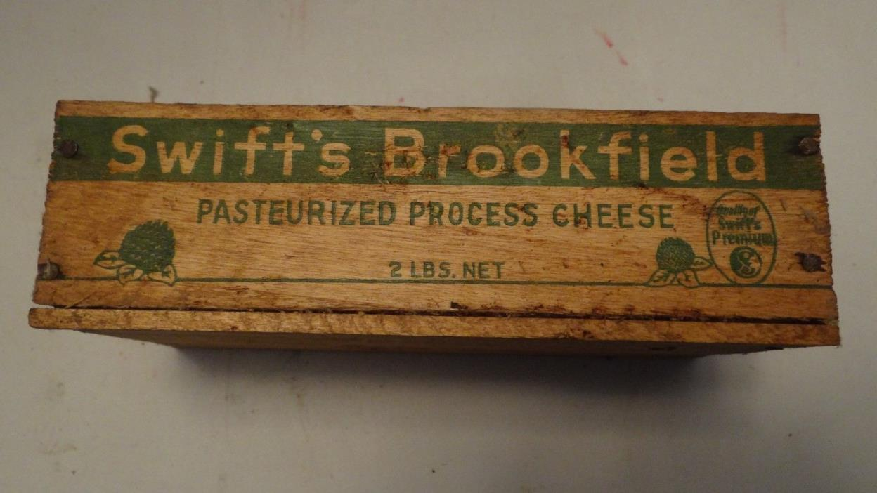 SWIFT'S BROOKFIELD YELLOW AMERICAN CHEESE 2# Vintage WOOD WOODEN BOX CRATE