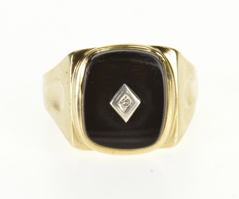 10K Rounded Black Onyx Diamond Overlay Men's Ring Size 11.5 Yellow Gold *68